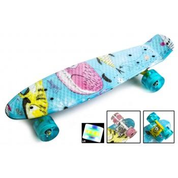 Пенни Борд с рисунком Zippy skateboards Ultra Led Cool Cat