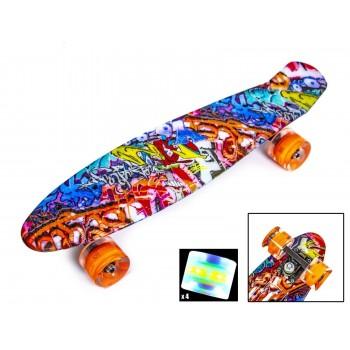 Пенни Борд с рисунком Zippy skateboards Ultra Led оранжевое граффити