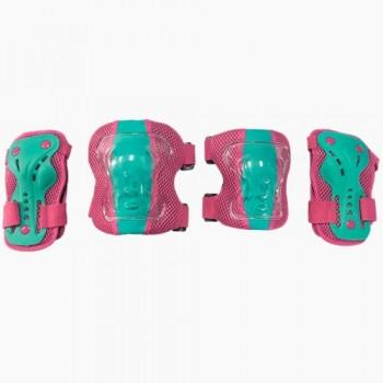 Набор защиты Tech Team Safety line 300, цвет розово-бирюзовый (размеры S, M, L)
